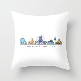 Meet me at my Happy Place Theme Park Skyline Throw Pillow