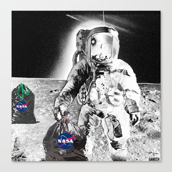 GARBAGE CAN  on  the MOON Canvas Print