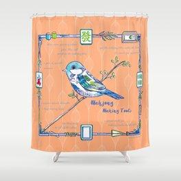 Sparrow Mahjong in Orange Shower Curtain