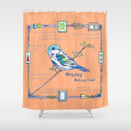 Sparrow Mahjong in Orange Shower Curtain