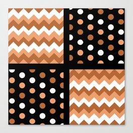 Black/Two-Tone Burnt Orange/White Chevron/Polkadot Canvas Print