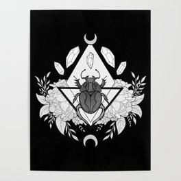 Scarab Queen // Black & White Poster