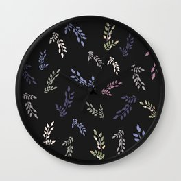 Multi color watercolor leaves on charcoal background Wall Clock