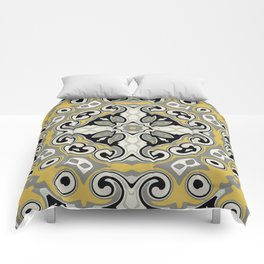 Edwardian Geo Yellow Grey Comforters