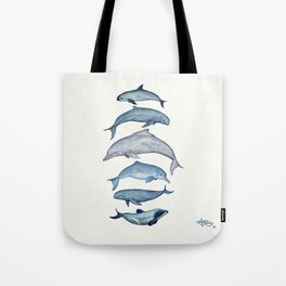 """""""Rare Cetaceans"""" by Amber Marine - Watercolor dolphins and porpoises - (Copyright 2017) Tote Bag"""