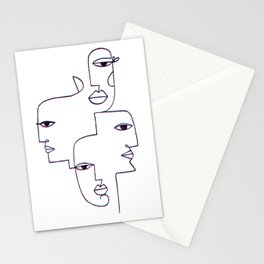 Faces Line Art Stationery Cards