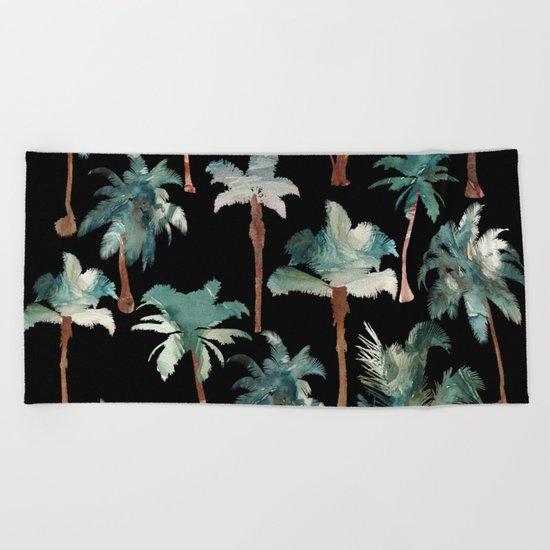 Palm Trees at Night Beach Towel