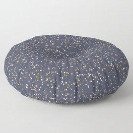 Speckles I: Dark Gold & Snow on Blue Vortex Floor Pillow
