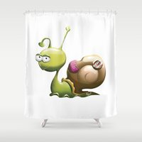snail Shower Curtains featuring Snail by ArtPavo