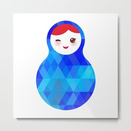 wink Russian doll matryoshka with bright rhombus on white background, blue colors Metal Print