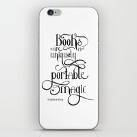 """stephen king iPhone & iPod Skins featuring """"Books are a uniquely portable magic."""" - Stephen King by Ketina"""