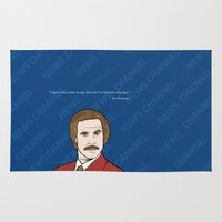 anchorman Area & Throw Rugs featuring Ron Burgundy Anchorman  by Sheena White for Winsome Gallery