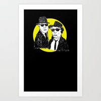 blues brothers Art Prints featuring Blues Brothers by Marco Patiño