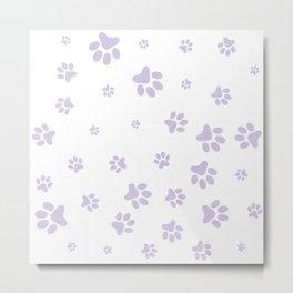 Lilac Pet paw pattern Metal Print