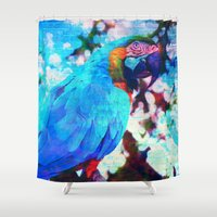 parrot Shower Curtains featuring Parrot by haroulita