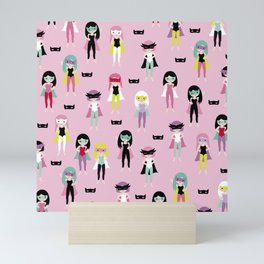 Super hero girls with masks Mini Art Print