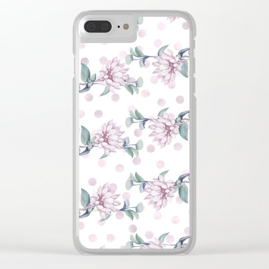 Rose Gold Roses + Polka Dots Clear iPhone Case