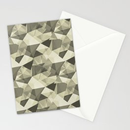 Abstract Geometrical Triangle Patterns 4 Natural Olive Green - Martinique Dawn - Asian Silk Stationery Cards