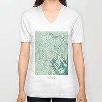 vintage map V-neck T-shirts featuring Tokyo Map Blue Vintage by City Art Posters
