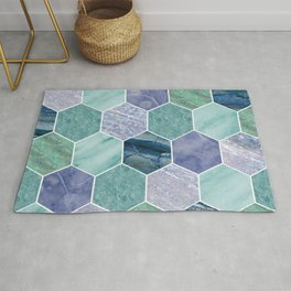 Mixed greens & blues - marble hexagons Rug