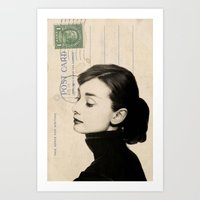 audrey Art Prints featuring Audrey by NORI