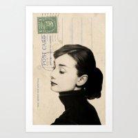 audrey Art Prints featuring Audrey by NORI