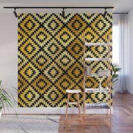 Turkish carpet gold black. Patchwork mosaic oriental kilim rug Wall Mural