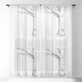 tree and swing, drawing black and white Sheer Curtain