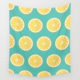 Lemons on green Wall Tapestry