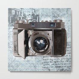 Blue Vintage Camera Art Metal Print