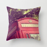 telephone Throw Pillows featuring Telephone by AndreaClare