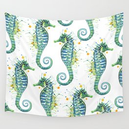 Seahorse: Green Wall Tapestry