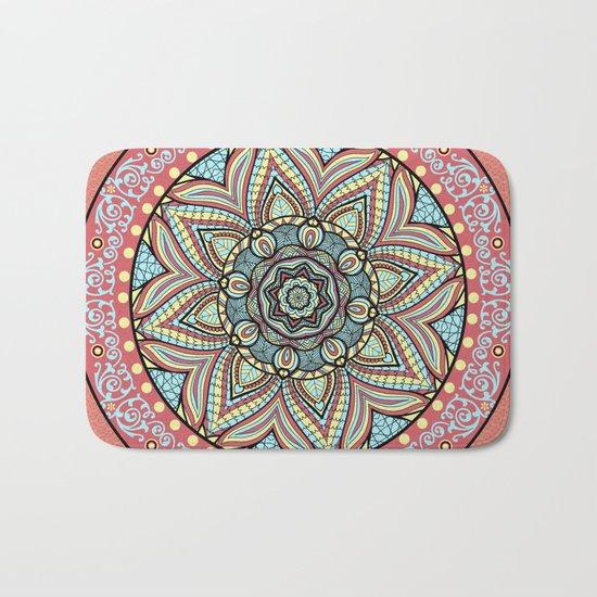 Bohemian Spirit Mandala On Pink Patterned Background Bath Mat