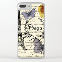 french botanical print purple butterfly lavender floral paris eiffel tower Clear iPhone Case