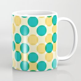 Random Cool Fresh Retro Overlapping Dots   Lemon and Mint Pattern Coffee Mug