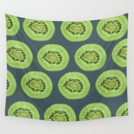 Kiwi pattern home decor interior design minimal cement polka dots graphite gray Wall Tapestry