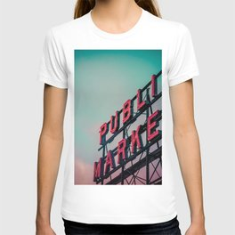 Seattle Pike Place Public Market Sign at Dawn T-shirt