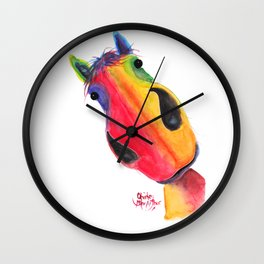 Happy Horse ' AppLETiNi ' by Shirley MacArthur Wall Clock