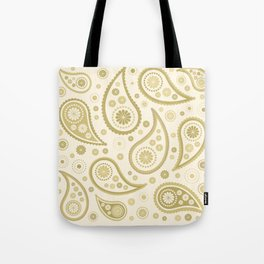 Paisley Funky Design Gold & Cream Tote Bag