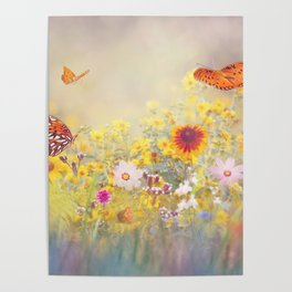 Gulf Fritillary butterflies in a meadow Poster