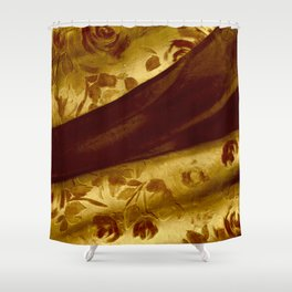 golden drape with marsala flowers Shower Curtain