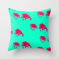meat Throw Pillows featuring Meat meet Meat by didu didu