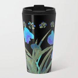 Atom Flowers #34 in blue and green Travel Mug