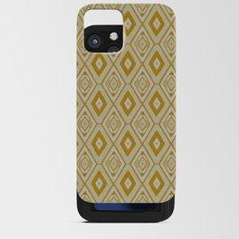 Mustard yellow and white tribal diamond pattern iPhone Card Case