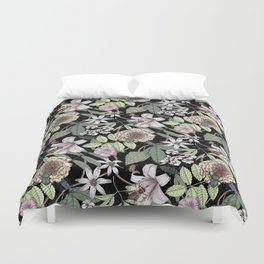 lush floral pattern with bee and beetles II Duvet Cover