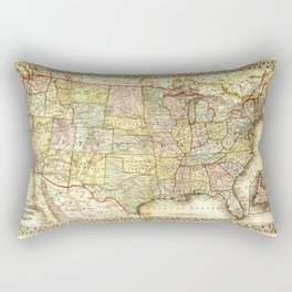 Vintage United States Map Rectangular Pillow