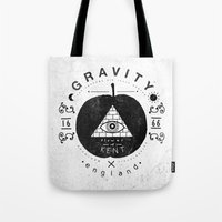 gravity Tote Bags featuring Gravity by Farnell