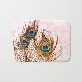Boho Chic Peacock Feathers Pink Mandala Sun Bath Mat
