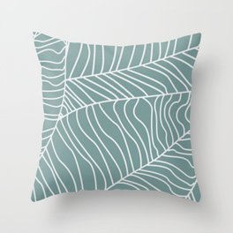 TROPICAL LEAVES - blue palette Throw Pillow