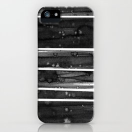 A watercolor abstract striped pattern in black and white iPhone Case